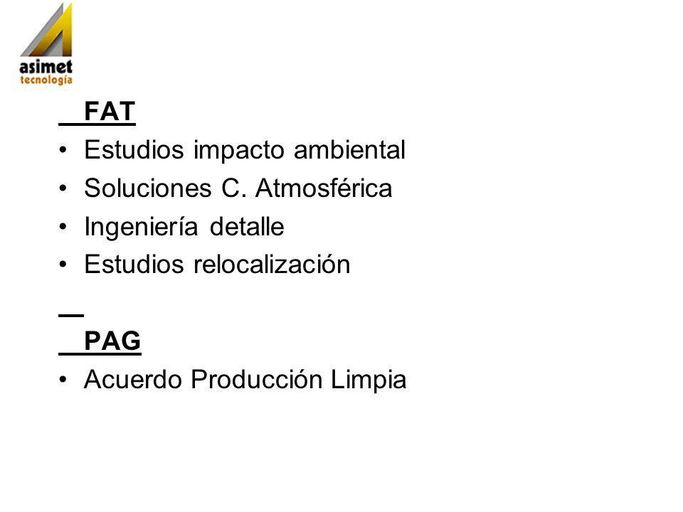 FAT Estudios impacto ambiental. Soluciones C. Atmosférica. Ingeniería detalle. Estudios relocalización.