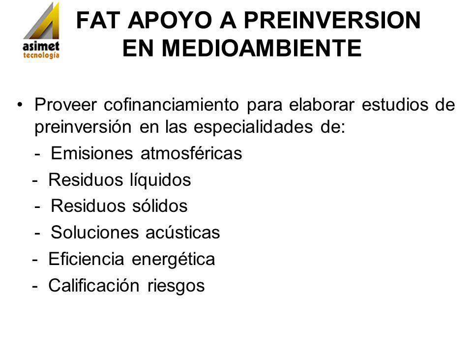 FAT APOYO A PREINVERSION EN MEDIOAMBIENTE