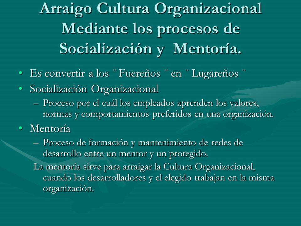 Arraigo Cultura Organizacional Mediante los procesos de Socialización y Mentoría.