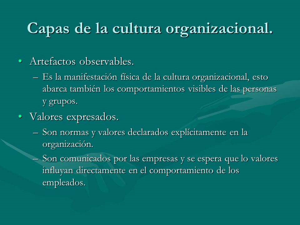 Capas de la cultura organizacional.