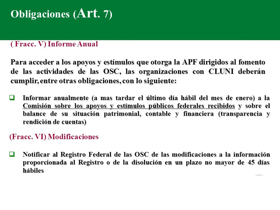 Obligaciones (Art. 7) ( Fracc. V) Informe Anual