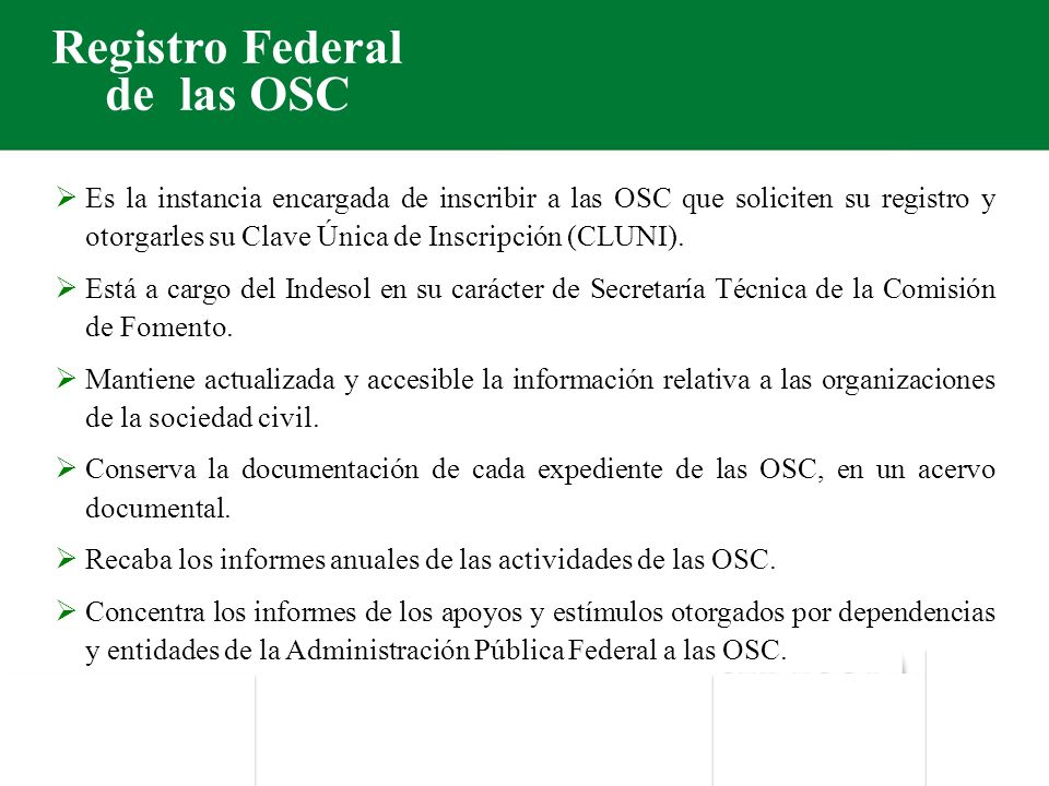 Registro Federal de las OSC