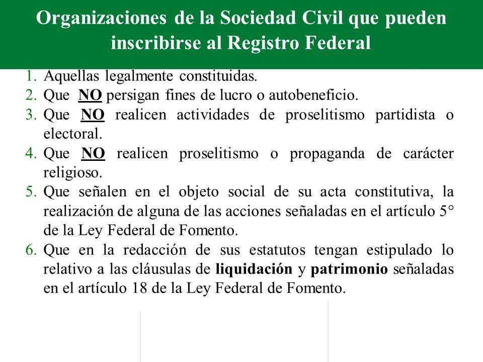 Organizaciones de la Sociedad Civil que pueden inscribirse al Registro Federal