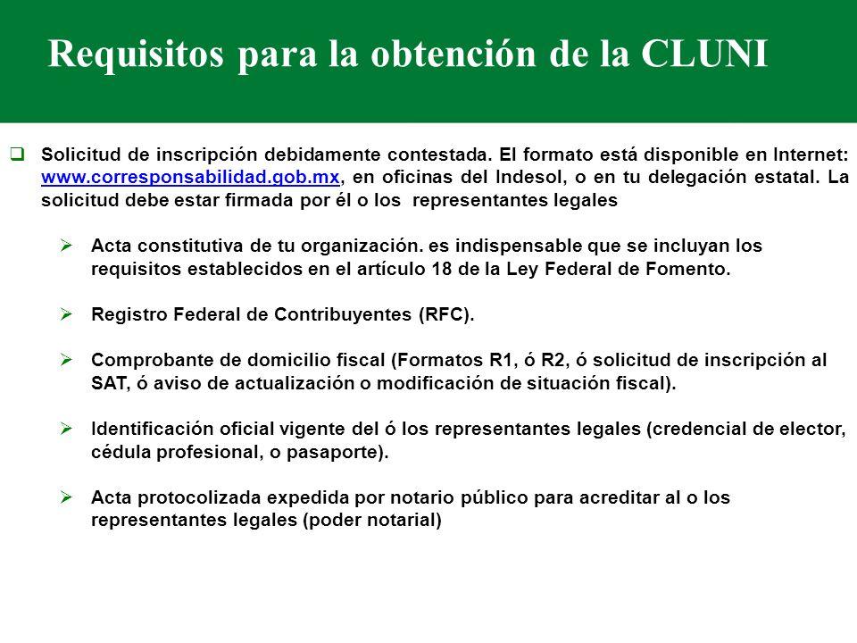 Requisitos para la obtención de la CLUNI