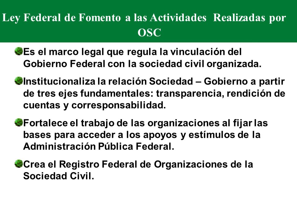 Ley Federal de Fomento a las Actividades Realizadas por OSC