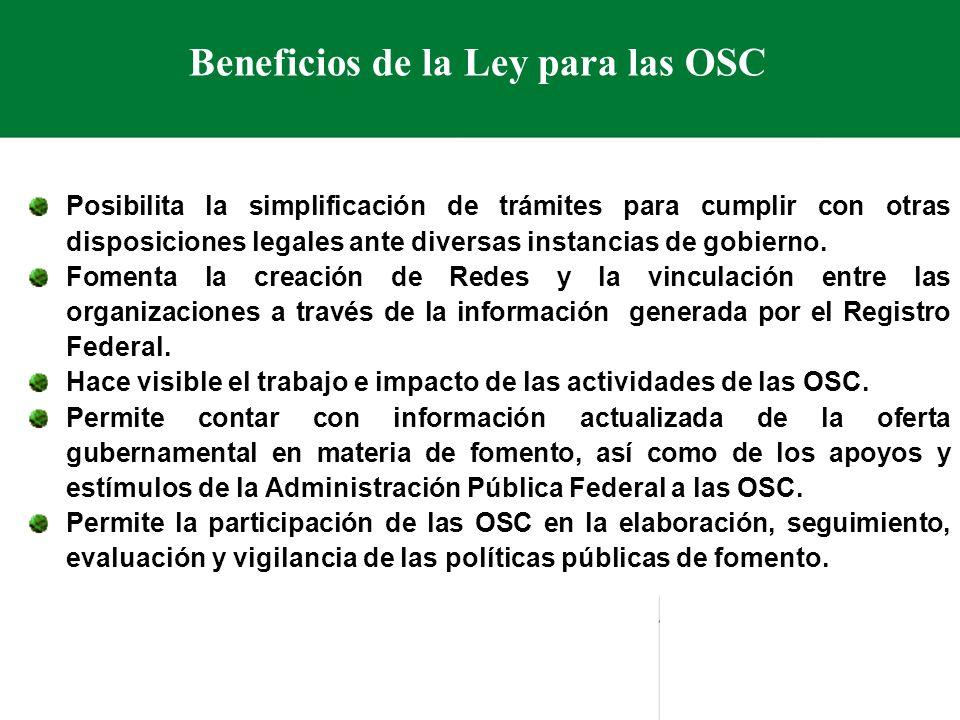 Beneficios de la Ley para las OSC