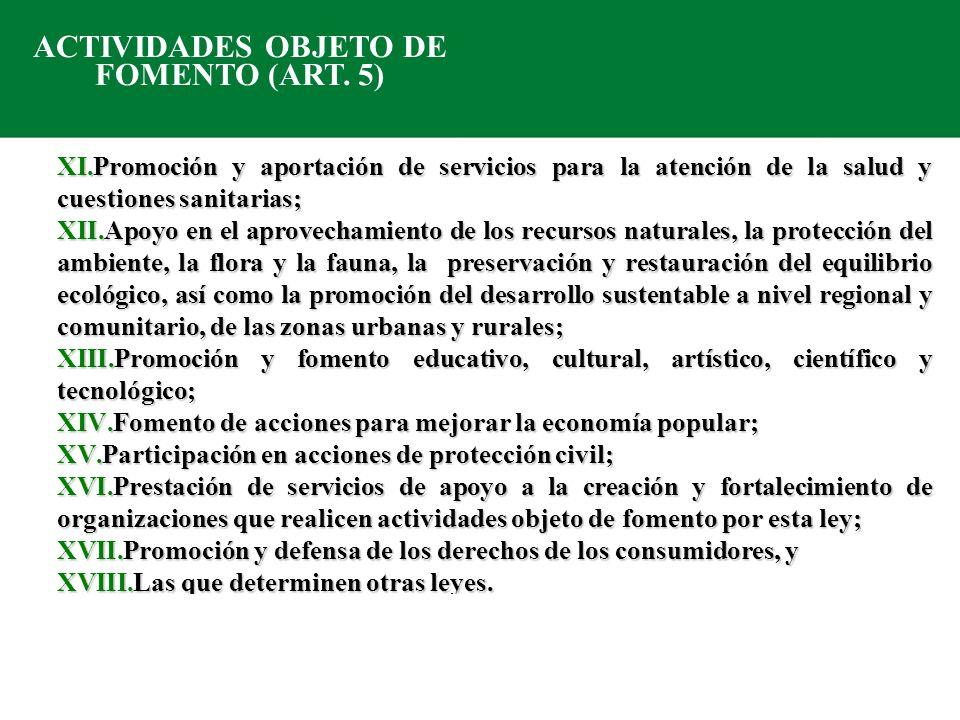 ACTIVIDADES OBJETO DE FOMENTO (ART. 5)