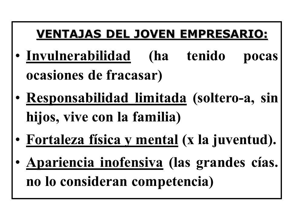 VENTAJAS DEL JOVEN EMPRESARIO: