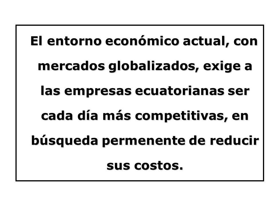 El entorno económico actual, con mercados globalizados, exige a las empresas ecuatorianas ser cada día más competitivas, en búsqueda permenente de reducir sus costos.