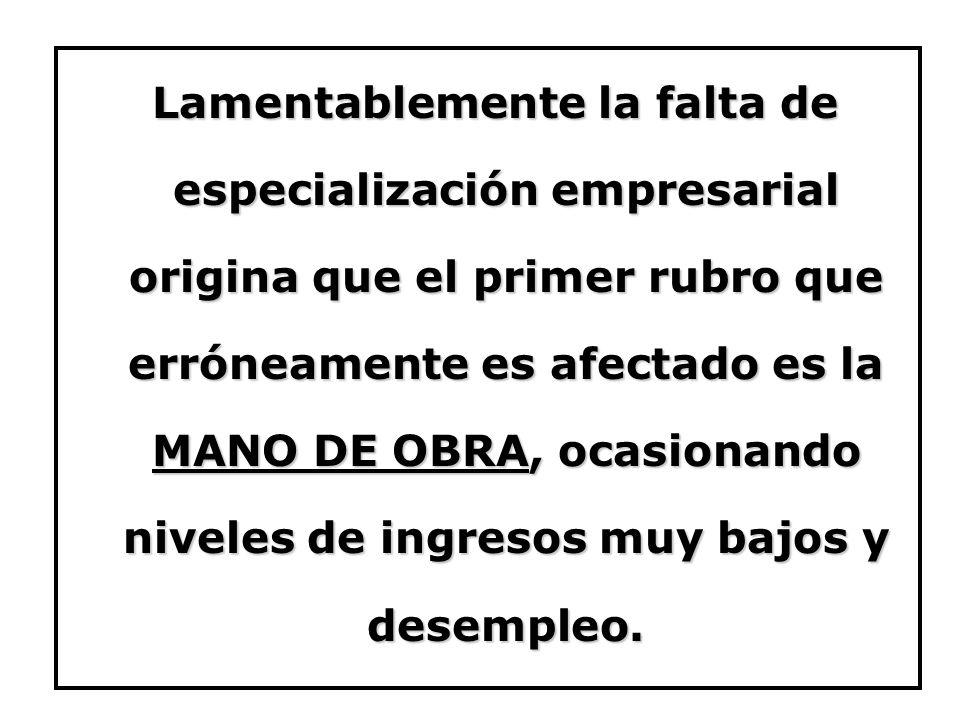 Lamentablemente la falta de especialización empresarial origina que el primer rubro que erróneamente es afectado es la MANO DE OBRA, ocasionando niveles de ingresos muy bajos y desempleo.