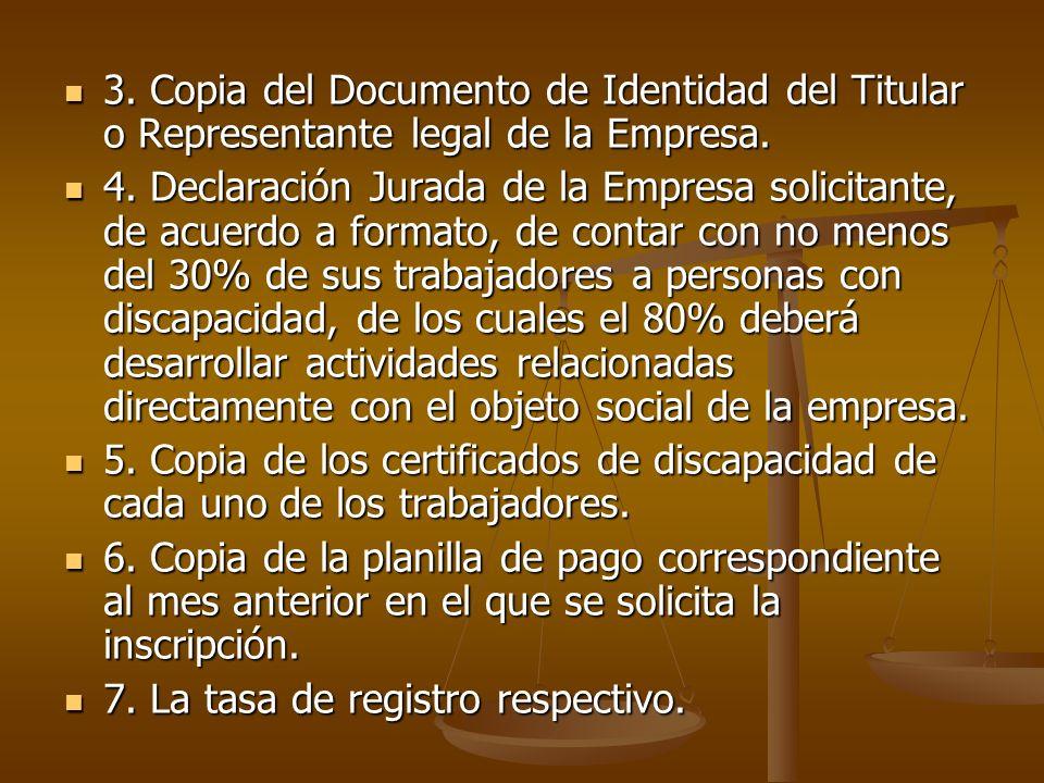 3. Copia del Documento de Identidad del Titular o Representante legal de la Empresa.