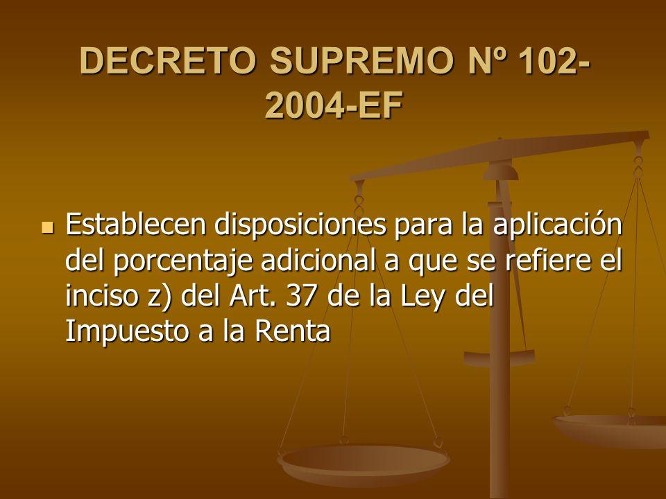DECRETO SUPREMO Nº 102-2004-EF