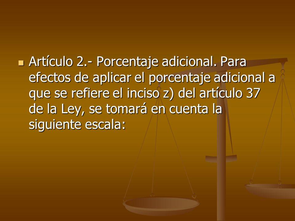 Artículo 2. - Porcentaje adicional
