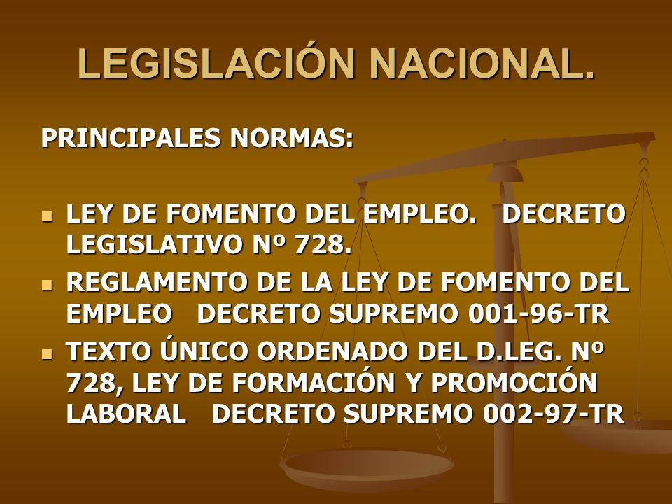 LEGISLACIÓN NACIONAL. PRINCIPALES NORMAS: