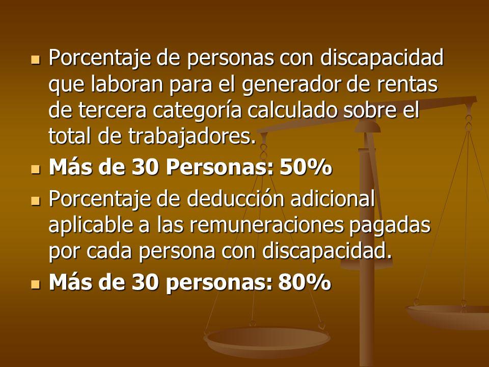 Porcentaje de personas con discapacidad que laboran para el generador de rentas de tercera categoría calculado sobre el total de trabajadores.