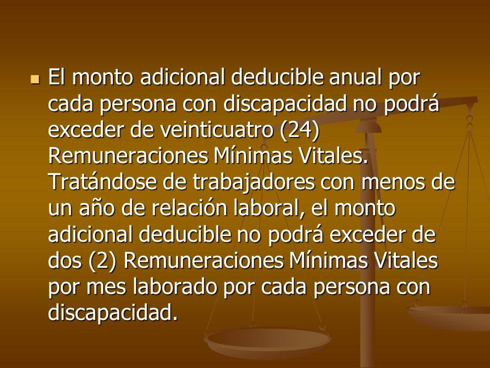 El monto adicional deducible anual por cada persona con discapacidad no podrá exceder de veinticuatro (24) Remuneraciones Mínimas Vitales.