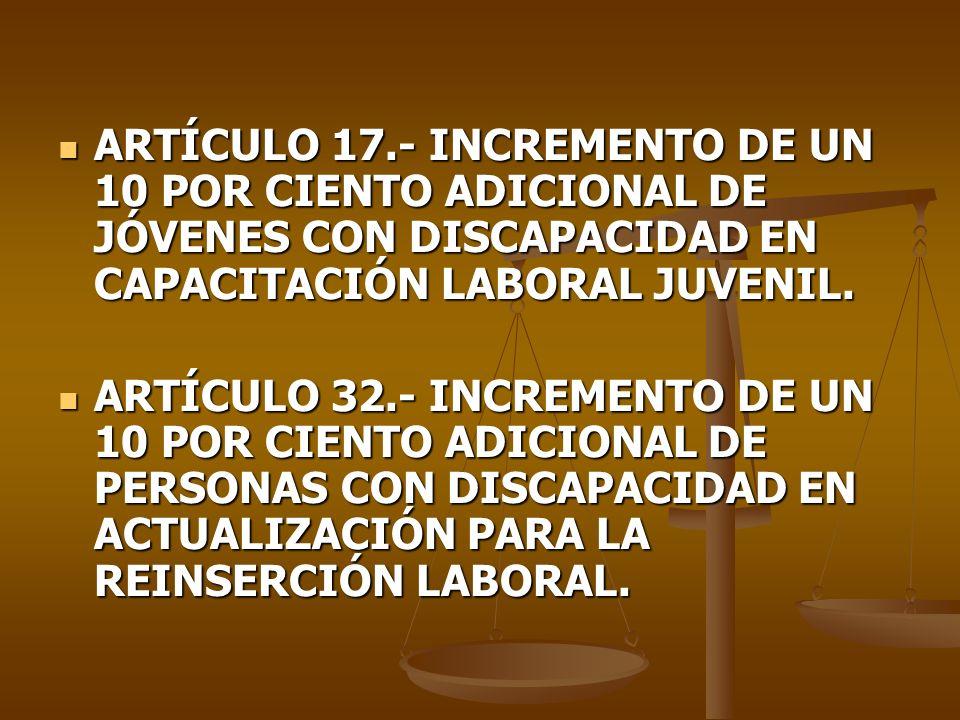 ARTÍCULO 17.- INCREMENTO DE UN 10 POR CIENTO ADICIONAL DE JÓVENES CON DISCAPACIDAD EN CAPACITACIÓN LABORAL JUVENIL.