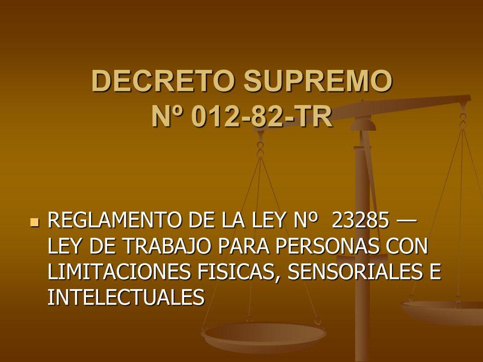DECRETO SUPREMO Nº 012-82-TR