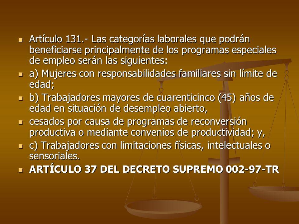 Artículo 131.- Las categorías laborales que podrán beneficiarse principalmente de los programas especiales de empleo serán las siguientes: