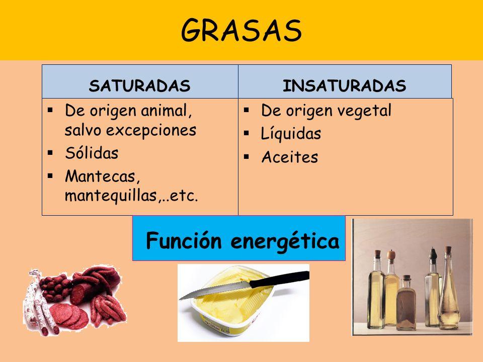 GRASAS Función energética SATURADAS INSATURADAS