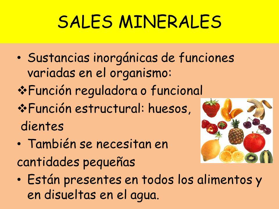 SALES MINERALES Sustancias inorgánicas de funciones variadas en el organismo: Función reguladora o funcional.