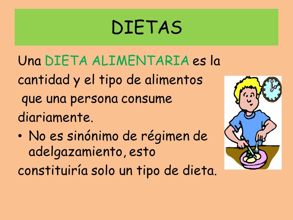 DIETAS Una DIETA ALIMENTARIA es la cantidad y el tipo de alimentos