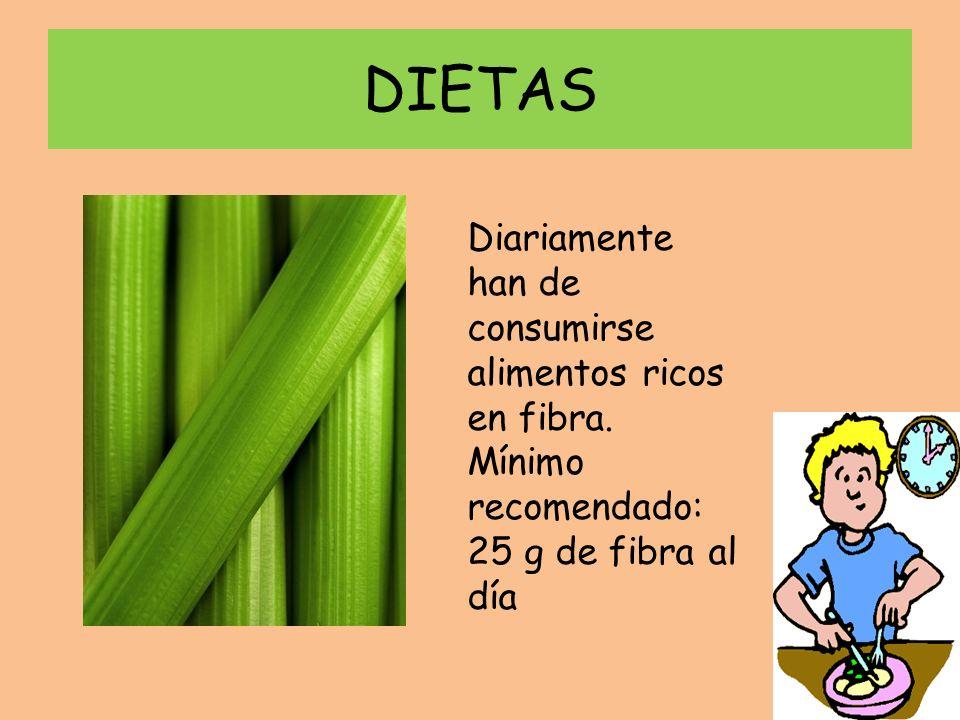 DIETAS Diariamente han de consumirse alimentos ricos en fibra.