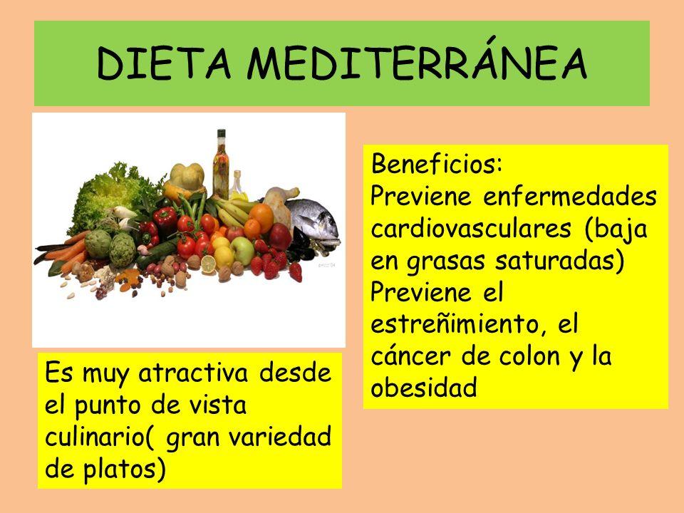 DIETA MEDITERRÁNEA Beneficios:
