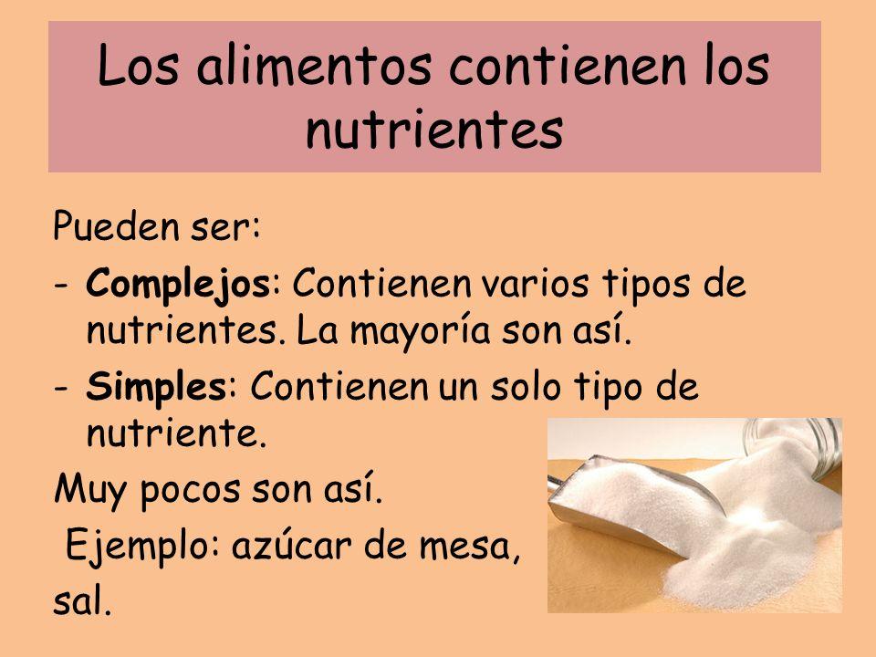 Los alimentos contienen los nutrientes