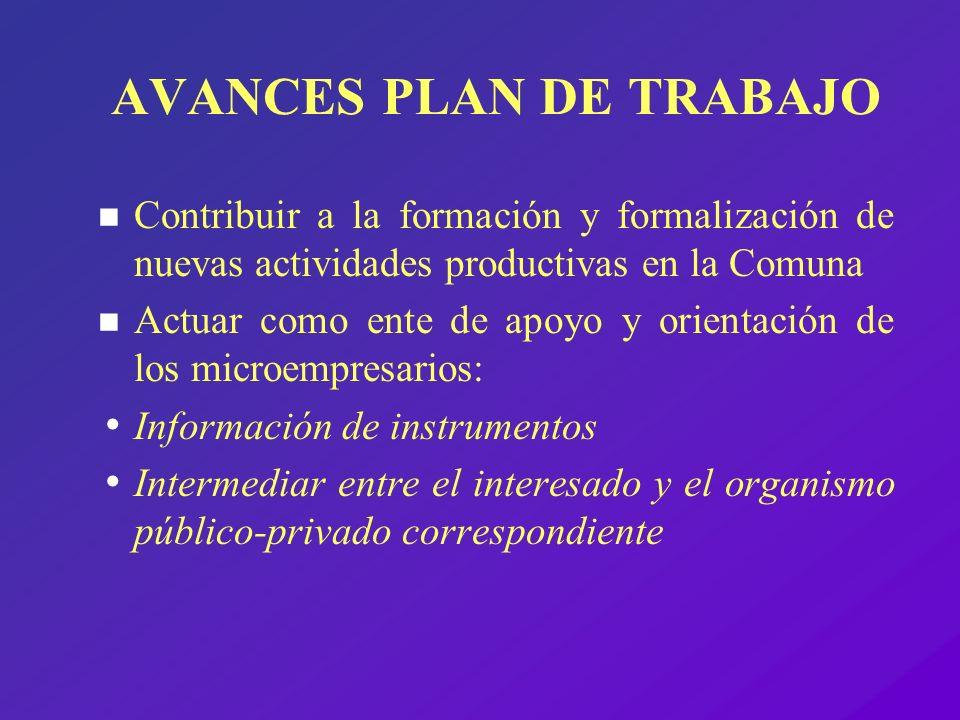 AVANCES PLAN DE TRABAJO