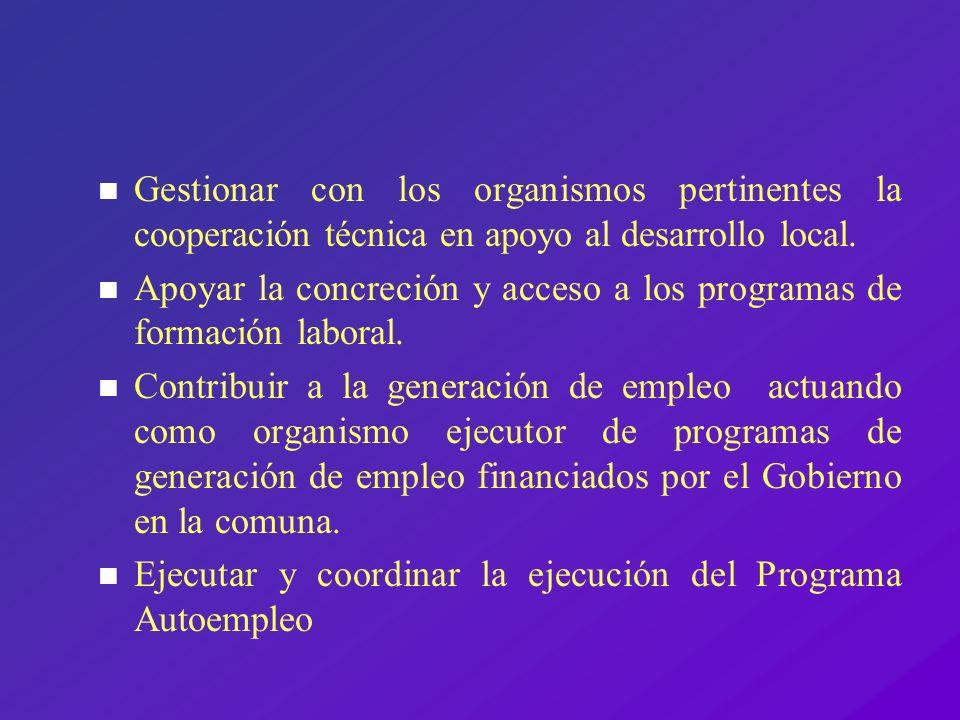 Gestionar con los organismos pertinentes la cooperación técnica en apoyo al desarrollo local.