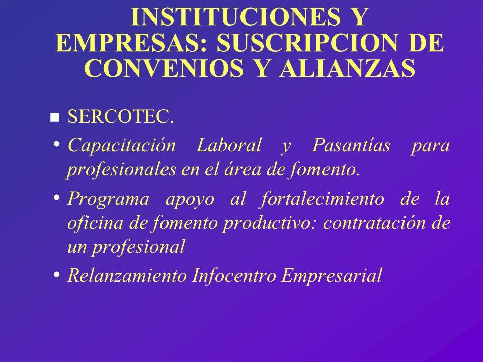 INSTITUCIONES Y EMPRESAS: SUSCRIPCION DE CONVENIOS Y ALIANZAS
