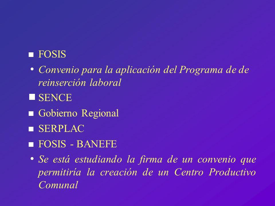 FOSIS Convenio para la aplicación del Programa de de reinserción laboral. SENCE. Gobierno Regional.