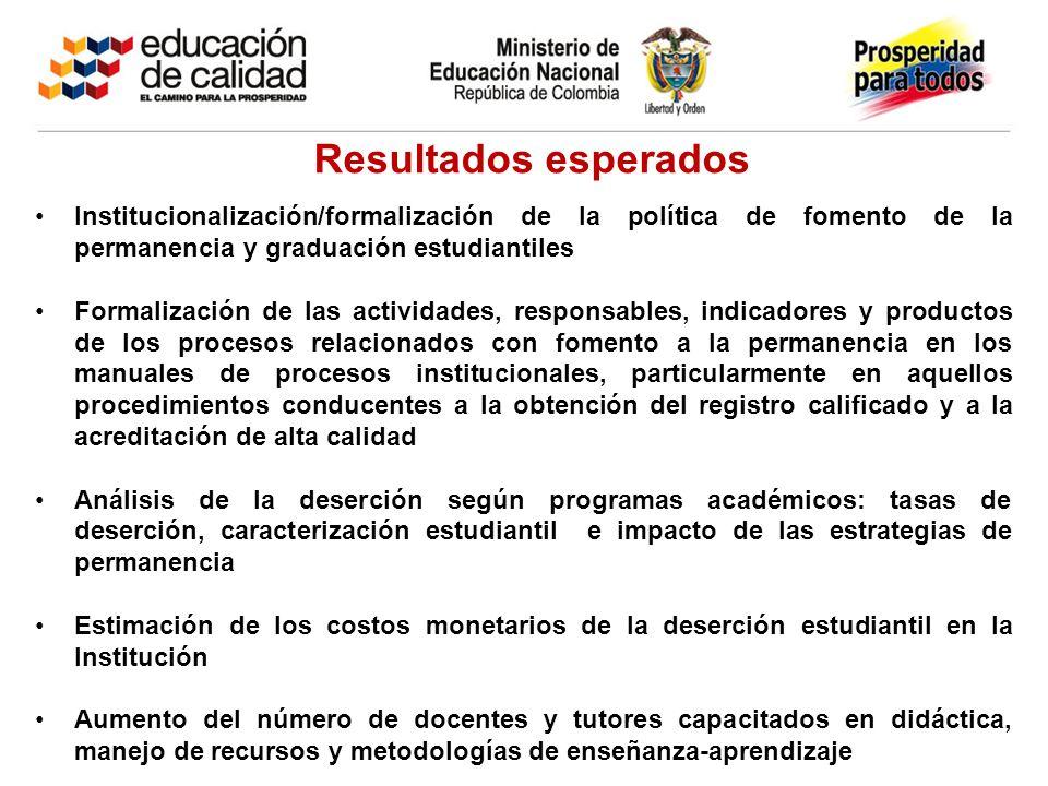 Resultados esperados Institucionalización/formalización de la política de fomento de la permanencia y graduación estudiantiles.