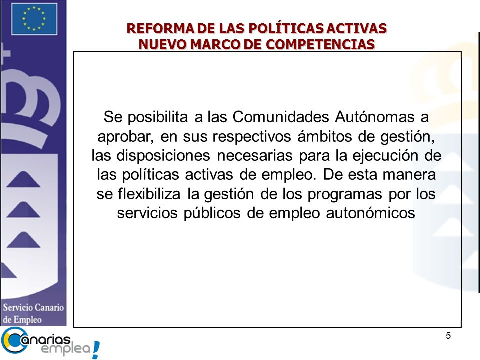 REFORMA DE LAS POLÍTICAS ACTIVAS NUEVO MARCO DE COMPETENCIAS