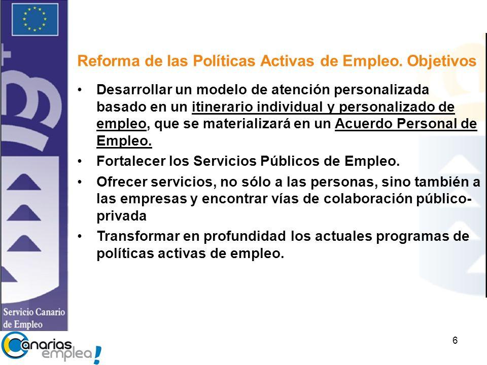 Reforma de las Políticas Activas de Empleo. Objetivos