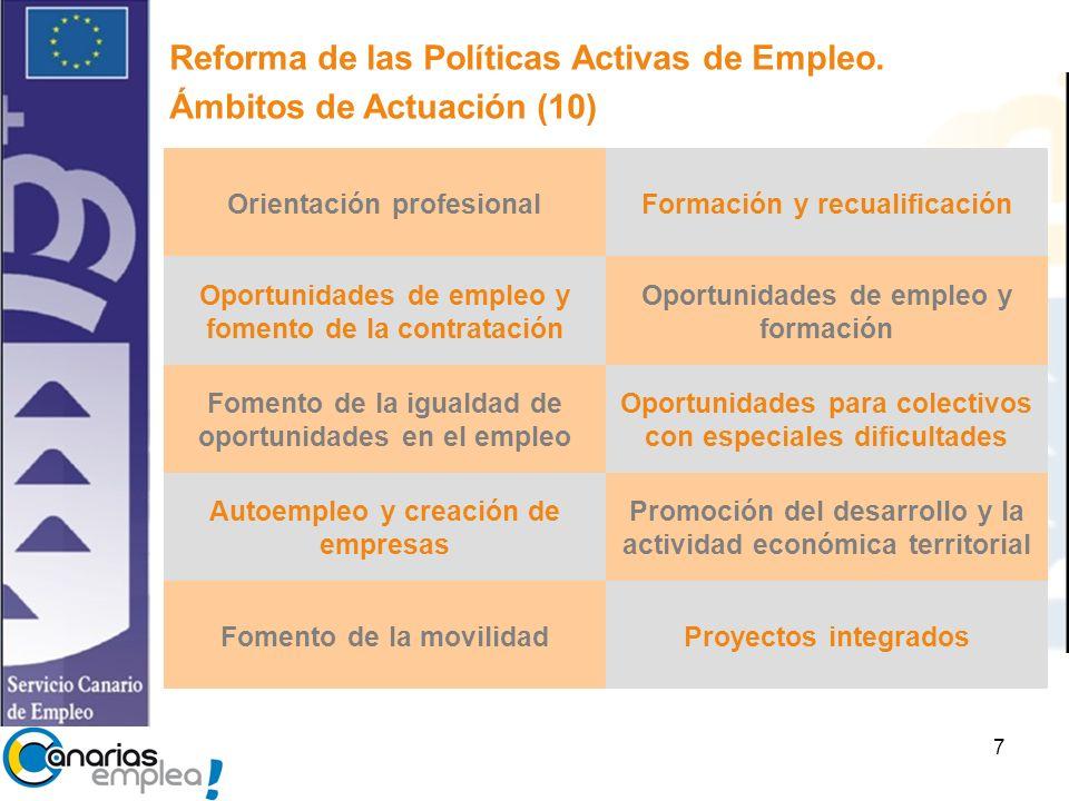 Reforma de las Políticas Activas de Empleo. Ámbitos de Actuación (10)