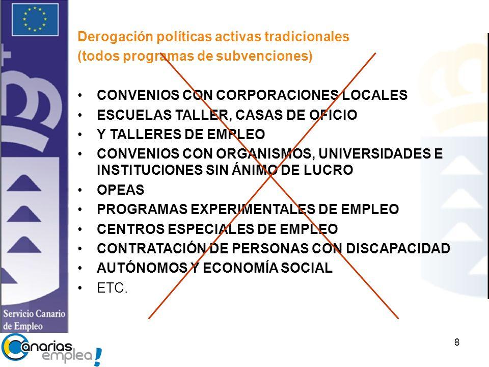Derogación políticas activas tradicionales