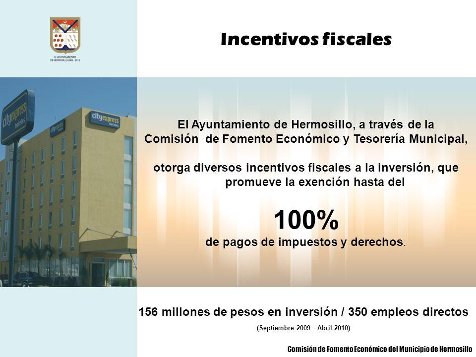 100% Incentivos fiscales El Ayuntamiento de Hermosillo, a través de la