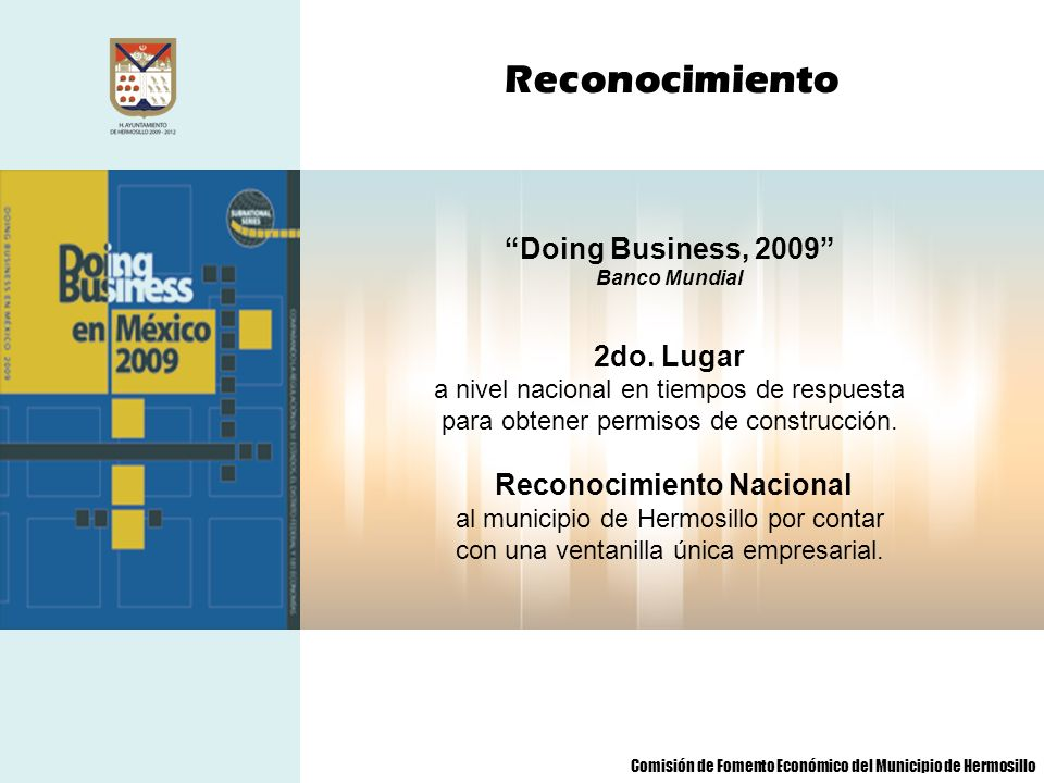 Reconocimiento Doing Business, 2009 2do. Lugar