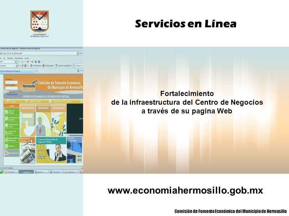 de la infraestructura del Centro de Negocios a través de su pagina Web