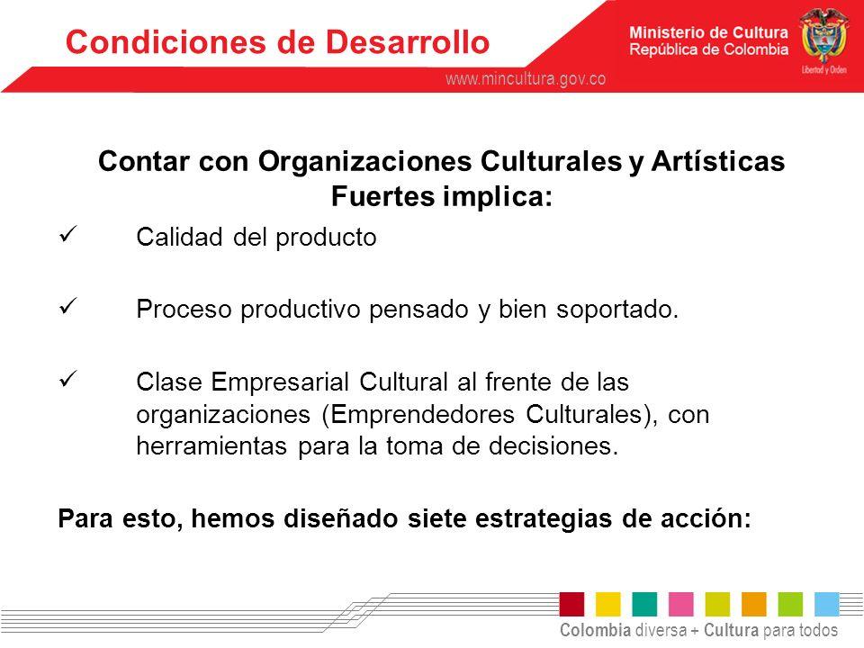 Contar con Organizaciones Culturales y Artísticas Fuertes implica: