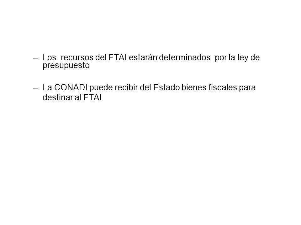 Los recursos del FTAI estarán determinados por la ley de presupuesto