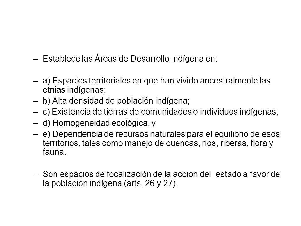 Establece las Áreas de Desarrollo Indígena en:
