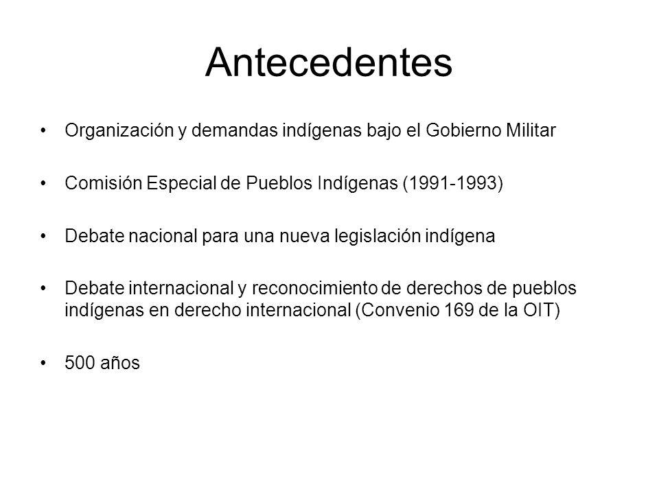AntecedentesOrganización y demandas indígenas bajo el Gobierno Militar. Comisión Especial de Pueblos Indígenas (1991-1993)