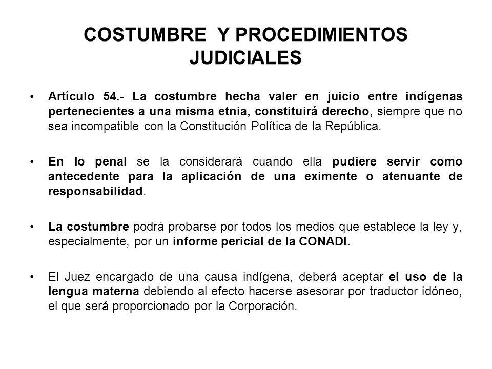 COSTUMBRE Y PROCEDIMIENTOS JUDICIALES