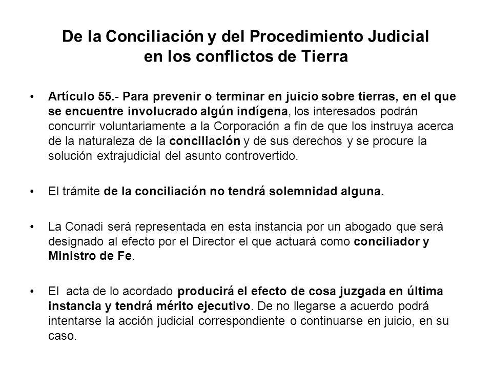 De la Conciliación y del Procedimiento Judicial en los conflictos de Tierra