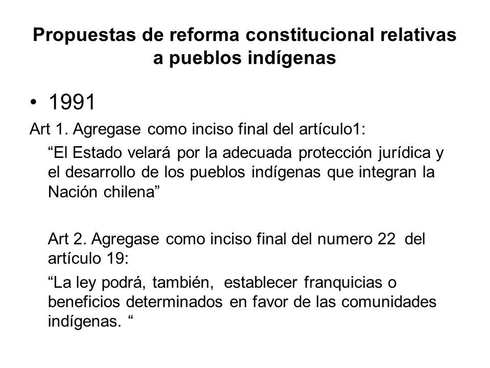 Propuestas de reforma constitucional relativas a pueblos indígenas