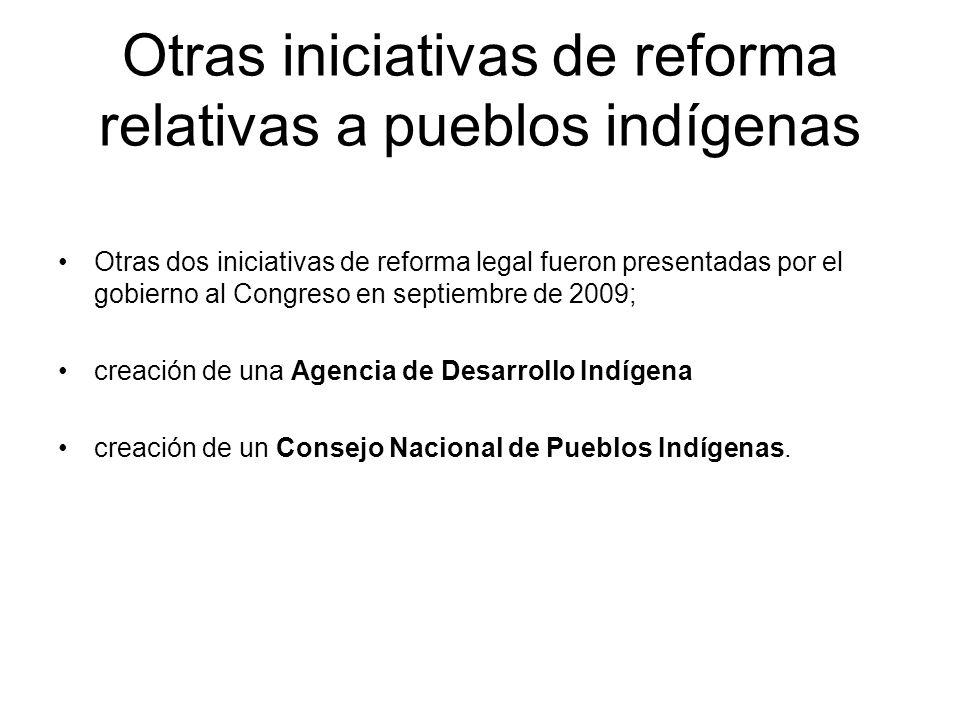 Otras iniciativas de reforma relativas a pueblos indígenas
