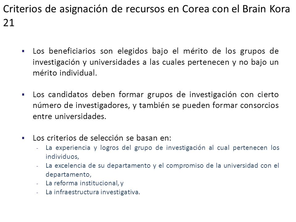 Criterios de asignación de recursos en Corea con el Brain Kora 21